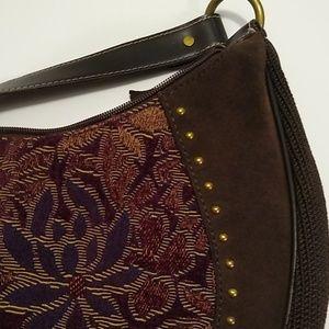 THE SAK Pink Label brown suede tapestry hobo bag